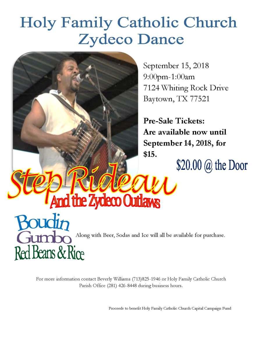 Zydeco flyer September 2018 - Step Rideau